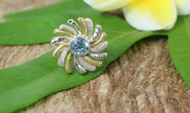 Rings Radiant Sun Ring with Blue Topaz