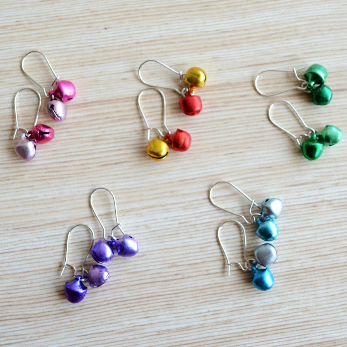 earrings Rainbow Matte Ghungroo Hoop Earrings Gift Set Multicolour and Silver Drop - by Pretty Ponytails