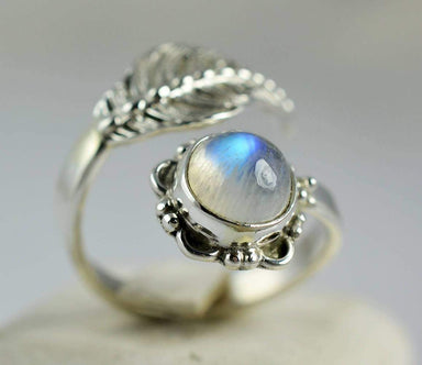Rings Rainbow Moonstone 925 Solid Sterling Silver Handmade Ring
