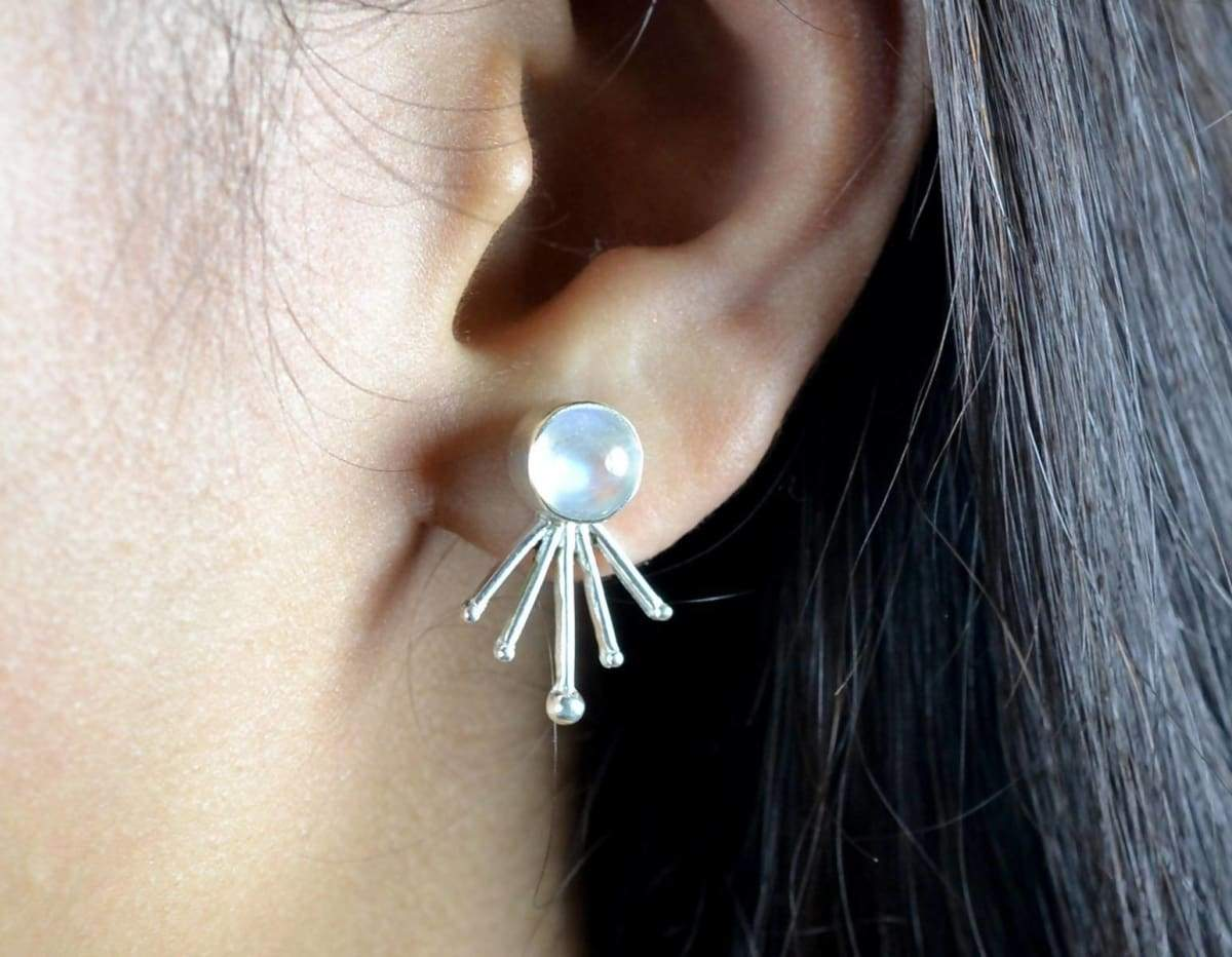 Earrings Rainbow Moonstone Silver Stud 925 Solid Sterling Silver. Handmade Studs