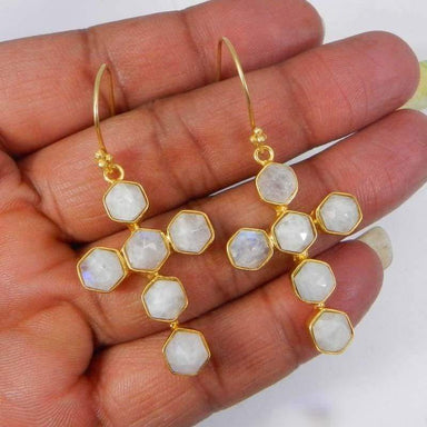 Earrings Rainbow Moonstone Gold Plated Cross Designer Bezel Dangle
