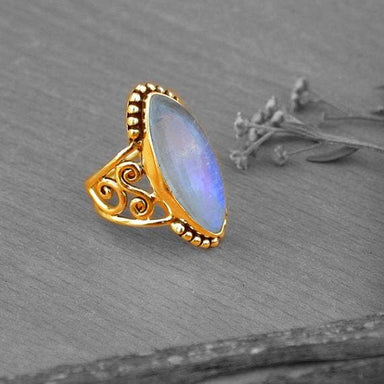 Rings Rainbow Moonstone gold Silver jewelry,romantic gift ring for her
