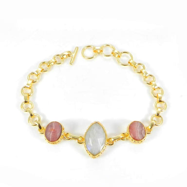 Bracelets Rainbow Moonstone and Rhodochrosite gemstone Bracelet Gold Plated Brass Jewelry