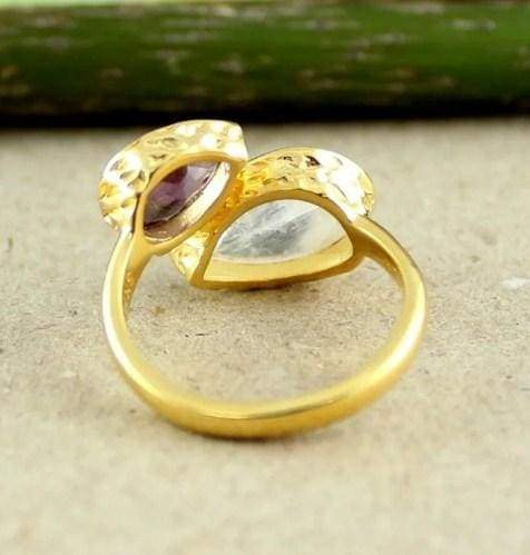 Rings Rainbow Moonstone Ring Amethyst Silver Natural Gemstone Jewellery