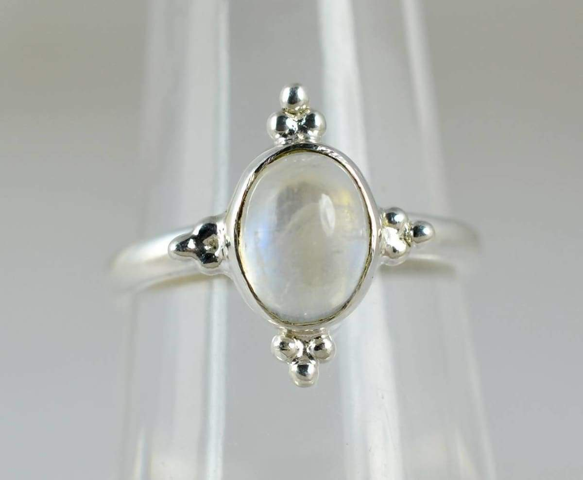 Rings Rainbow Moonstone Ring ~ Silver 925 Solid Sterling Handmade Jewelry