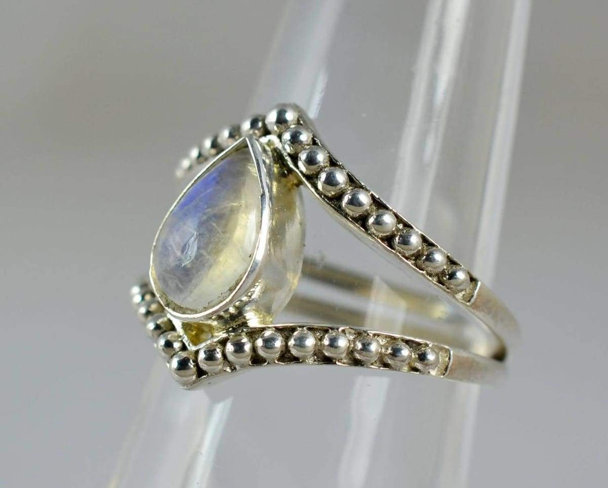 Rings Rainbow Moonstone Ring ~ Silver 925 Sterling Handmade Jewelry Sizes 3 to 14 US
