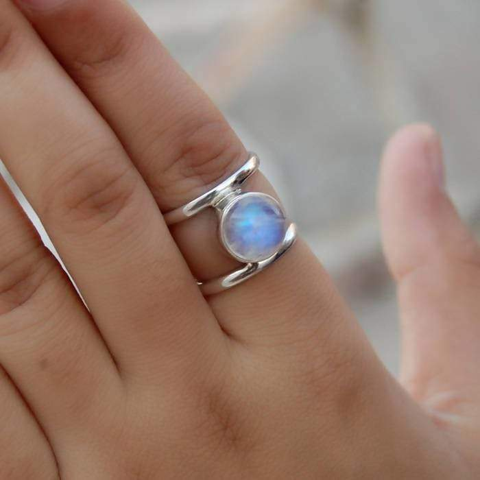Rings Rainbow Moonstone Ring Solid Sterling Silver Blue Fire Gift Rose Gold Pink Yellow ring Bohemian All Size - by Subham Jewels