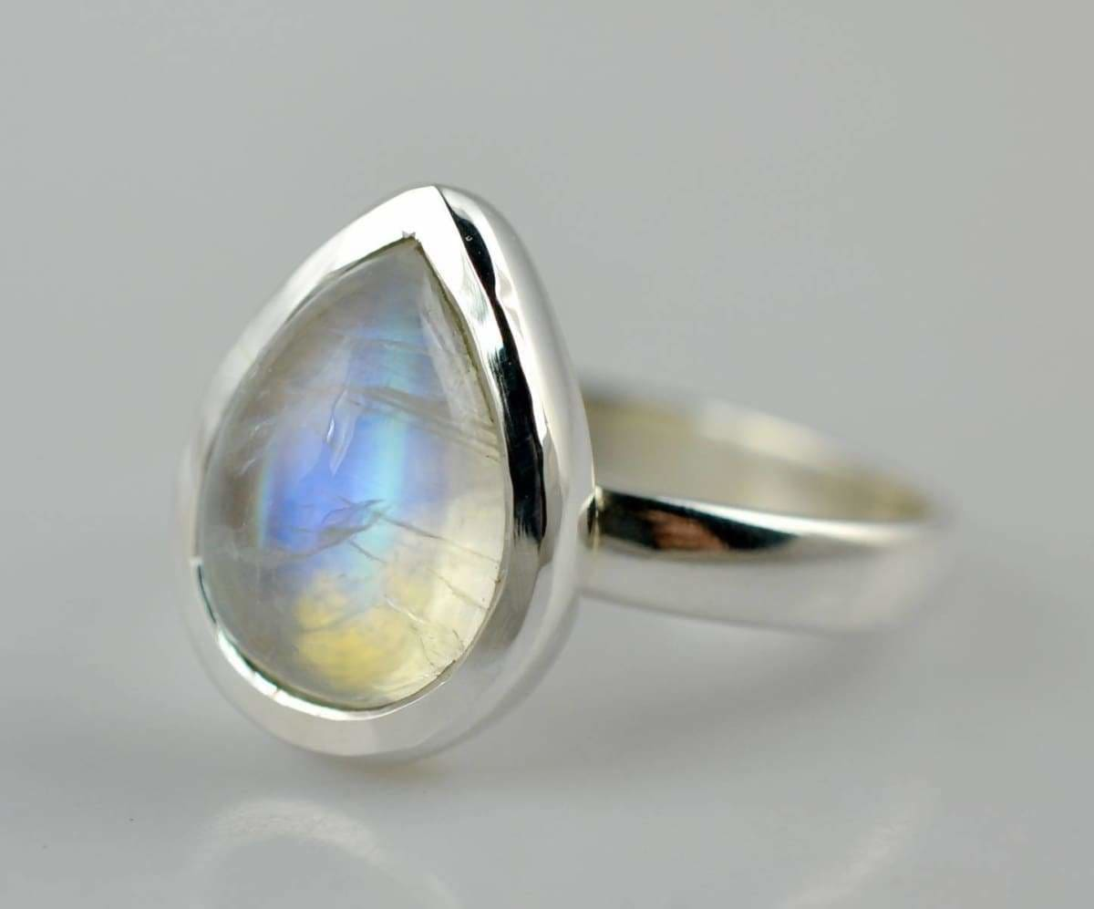 Rings Rainbow Moonstone Silver Ring ~ 925 Solid Sterling Handmade Size 4-13 - Title by Navya Craft