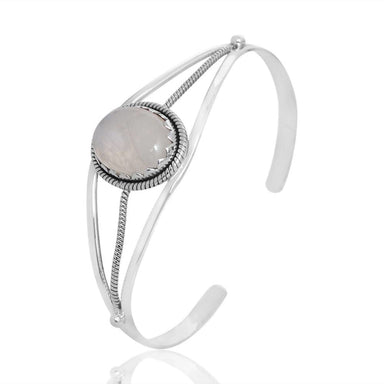 Bracelets Rainbow Moonstone Solitaire 925 Sterling Silver Cuff Bangle Handmade Men's and Women's Bracelet