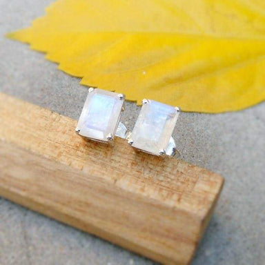 Earrings Rainbow Moonstone Stud Earring Sterling silver White Stone Studs Silver Jewelry