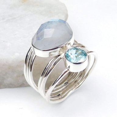 Rings Rainbow moonstone & Topaz Ring 925 Sterling Silver Multi Stone Ring-D008
