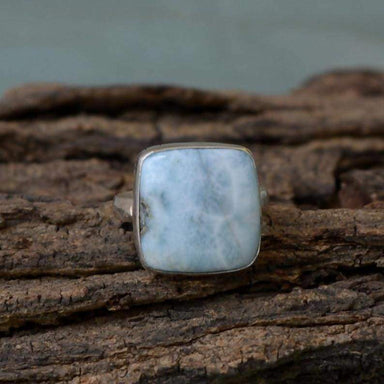 Rings Rare Dominican Larimar Gemstone Ring Bezel Set Statement 925 Sterling Silver,Cushion Pectolite - Title by NativeFineJewelry