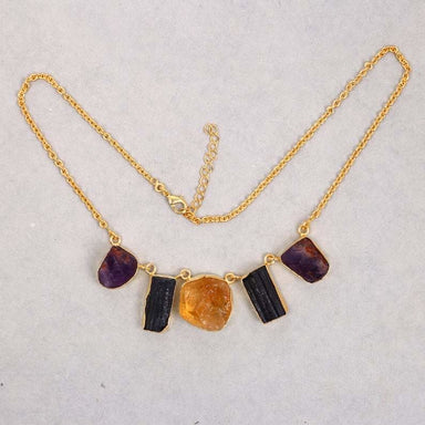 Raw Amethyst Citrine And Black Tourmaline Gemstone Bib Statement Necklace