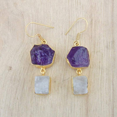 Raw Amethyst And Rainbow Moonstone Bezel Set Gold Plated Dangle Earrings