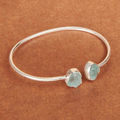 Bracelets Raw Aquamarine gemstone 925 Sterling silver bracelet Brush finish Matte Silver bangle Fashion Handmade Jewelry Gift - by Adorable