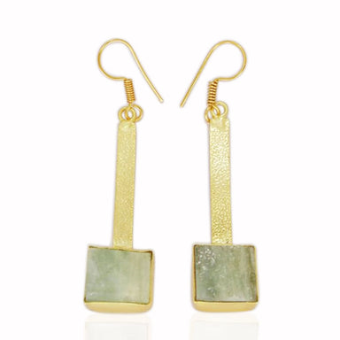 Raw Aquamarine March Birthstone Dainty Dangle Earrings In 18K Gold Plated
