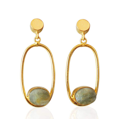 Raw Aquamarine March Birthstone Designer Earrings In 18K Gold Plated