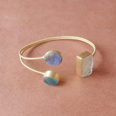 Raw Crystal Quartz Tanzanite And Apatite Gemstone Open Cuff Bangle