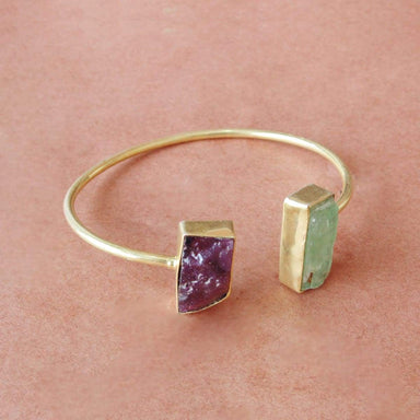 Raw Garnet And Green Kyanite Gemstone Stackable Bangle For Women