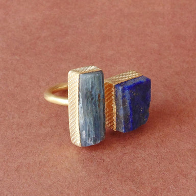 Raw Kyanite And Lapis Lazuli Bezel Set Gemstone Birthday Gift Statement Ring - by Bhagat Jewels