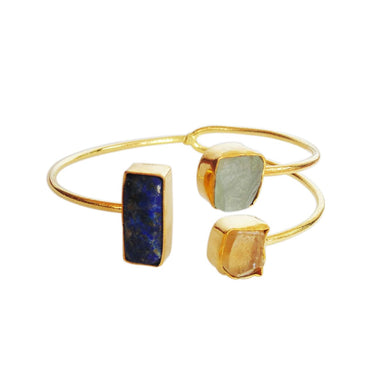 Raw Lapis Lazuli Citrine And Aquamarine Gemstone Adjustable Bangle - by Bhagat Jewels
