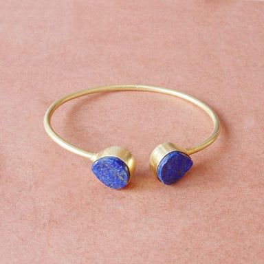 Raw Lapis Lazuli September Birthstone Stackable Bangle For Women