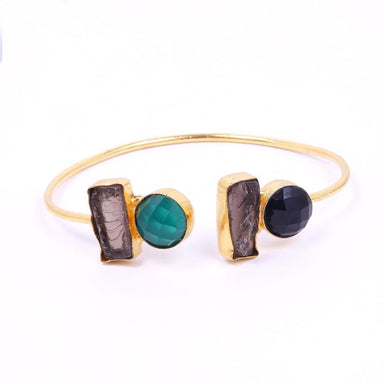 Raw Smoky Quartz Green Onyx And Black Gemstone Adjustable Bangle - by Bhagat Jewels