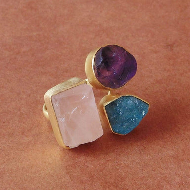 Real Amethyst Rose Quartz And Apatite 3 Birthstone Gold Plated Everyday Wear Ring - by Bhagat Jewels