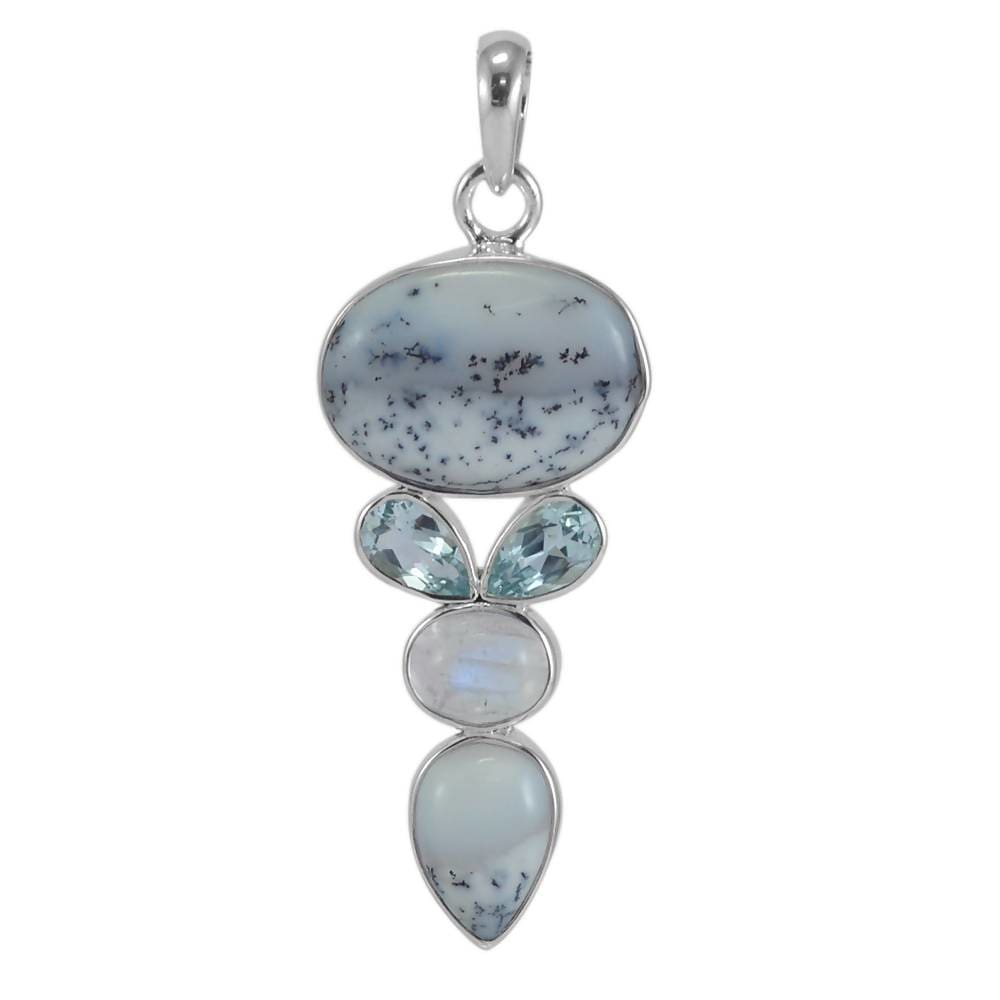 Necklaces Best Price! Real Dendritic Opal Rainbow Moonstone And Sky Blue Topaz Gemstone Sterling Silver Pendant.