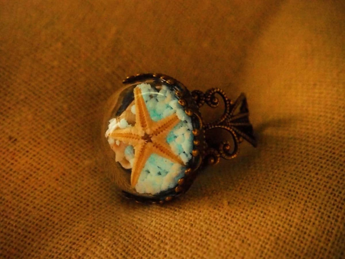 Rings Real Starfish Glow in the dark beach ring - by StylishNature