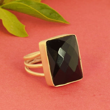 Rectangle Shape Black Onyx Gemstone Statement Ring - by Bhagat Jewels