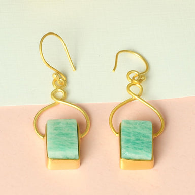 Rectangle Shape Natural Amazonite Gemstone Pretty Drop Earrings - by Bhagat Jewels