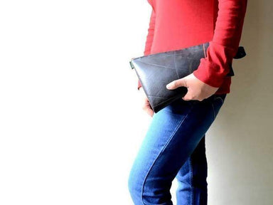 Pouches Recycled black vegan leather pouch