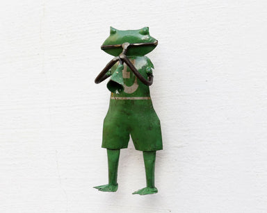 home decor Recycled Iron Figure Mini Frog Wall Mount Showpiece - by De Kulture Works