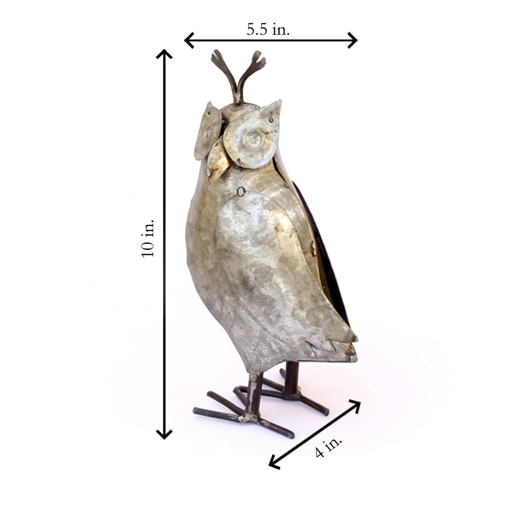 home decor Recycled Iron Owl Figure Showpiece Bird Figurine - by De Kulture Works