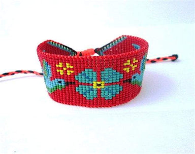 Bracelets Red and Blue Beaded Hummingbirds Flower Bracelet