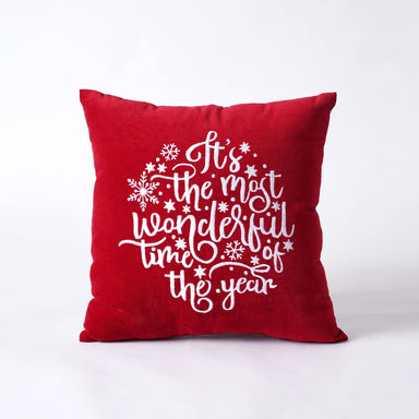 Red Christmas pillow cover in embroidered velvet sizes available - 16 X by VLiving