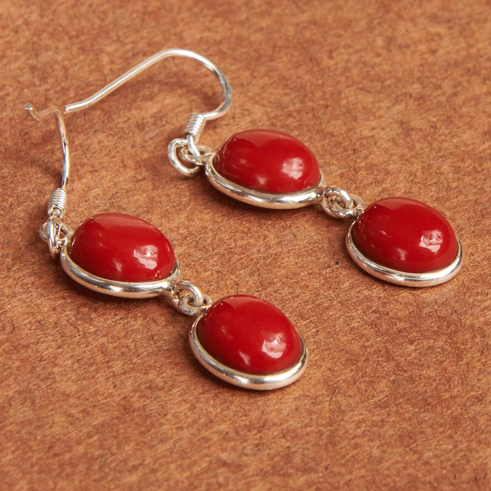 Earrings Red Coral Gemstone Birthstone 925 Sterling Silver Handmade Dangle - by Jewelry Zone