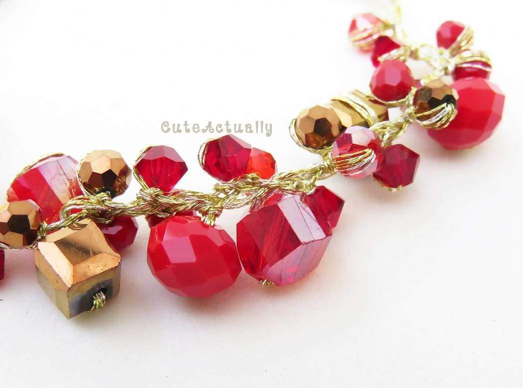 Bracelets Red crystal bracelet with metallic brown on gold silk thread red