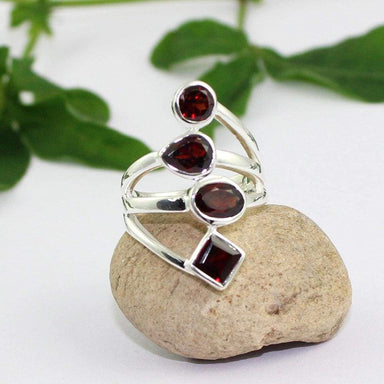 Rings Red Garnet Ring Multi Shape Gemstone Valentine's Gift Silver jewelry for her