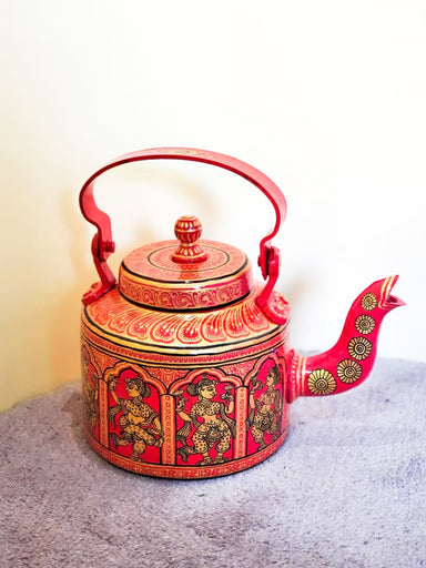 Painted Teapots Red and Gold Mettalic Aluminium Kettle - by VINTAGE VISTARA