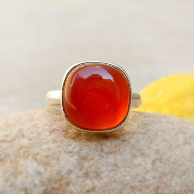 Rings Red Onyx Ring Stone Sterling Silver onyx jewelry Solitaire