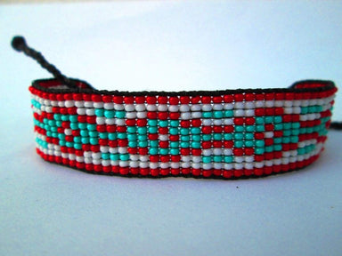 Bracelets Red and Turquoise Beaded Friendship BraceletsHuichol Native American Inspired