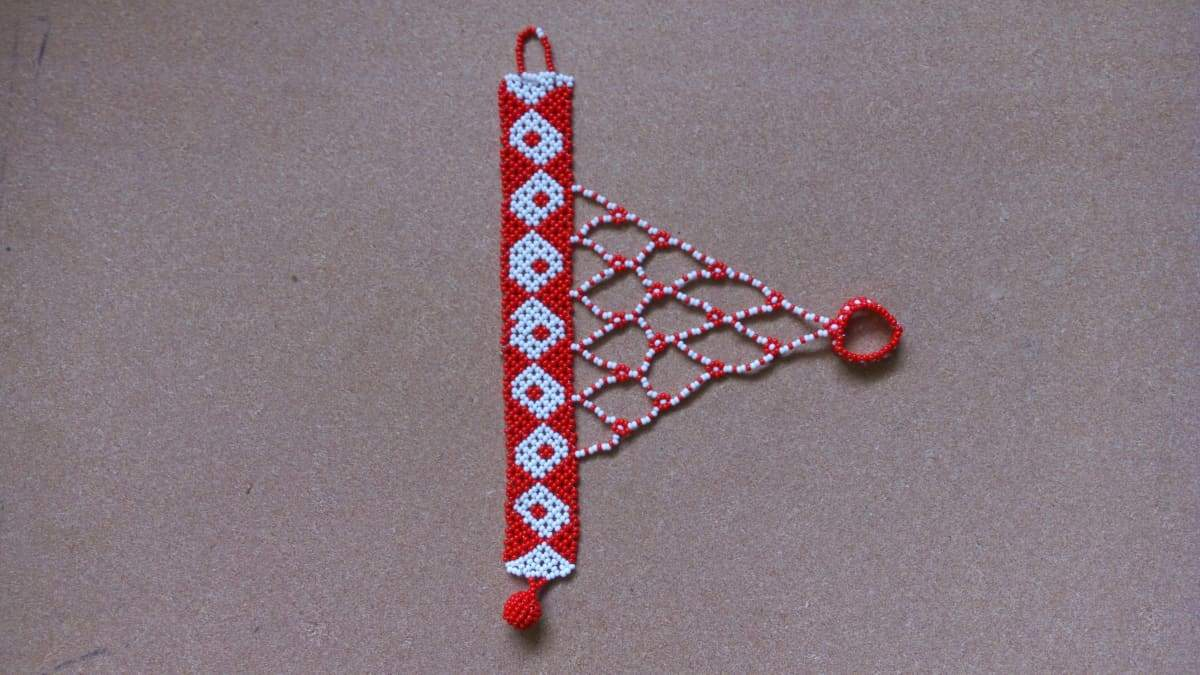 Bracelets Beautiful Red and White Beaded Maasai Bracelet - by Naruki Crafts