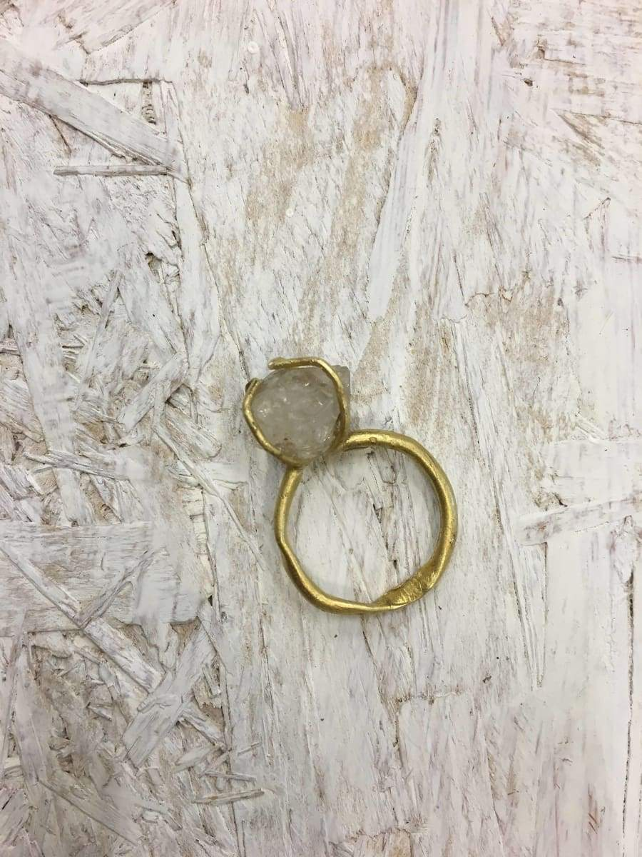 Rings ring quartz and brass natural perfect gift rustic linker hand made one of a kind boho chic anniversary band gold