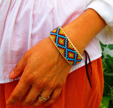 Bracelets Roads Intertwined Native American Inspired Beaded Bracelet on Deer Hide - by Pachamama Art