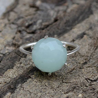 Rings Rose Cut Aqua Chalcedony Ring Round 925 Sterling Silver