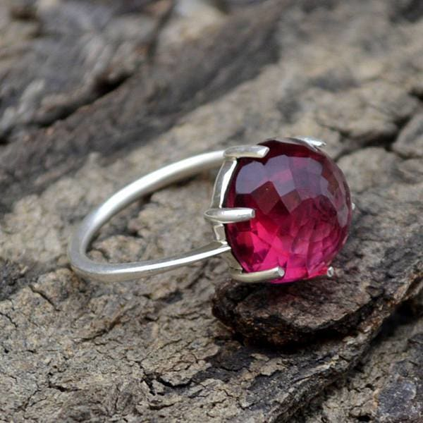 Rings Rose Cut Rhodolite Garnet Gemstone Ring Round 925 Sterling Silver Gift