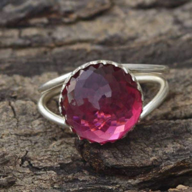 Rings Rose Cut Rhodolite Garnet Ring Round 925 Sterling Silver Designer Prong Gift For Her Double Band
