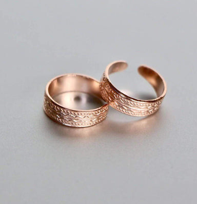 Rings Rose Gold Dipped Silver Toe Ring 5mm Simple Adjustable Band Minimalist Gifts For Her Bohemian Jewelry (TS64)